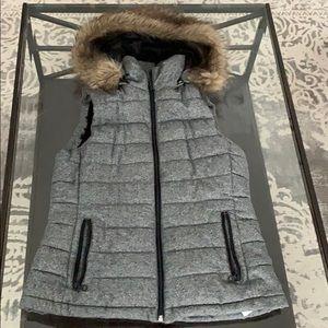 Banana Republic Marled Fur Hood Sherpa Vest